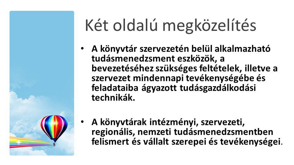 Két oldalú megközelítés • A könyvtár szervezetén belül alkalmazható tudásmenedzsment eszközök, a bevezetéséhez szükséges feltételek, illetve a szervez
