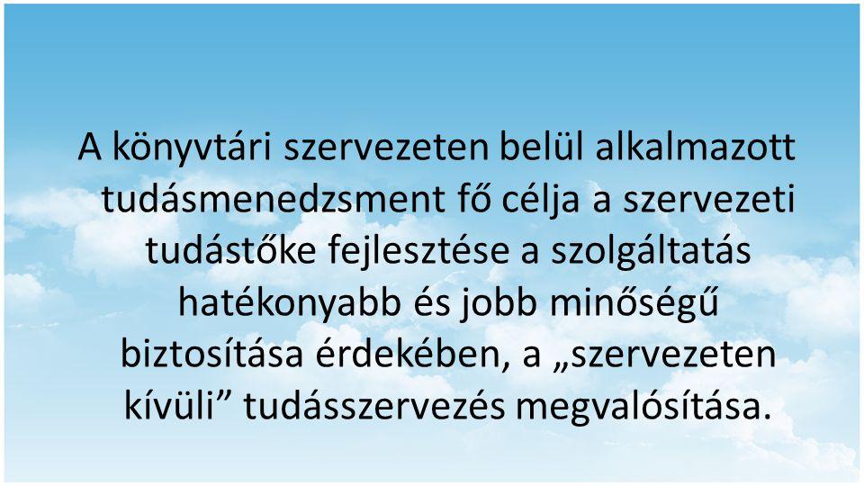 A könyvtári szervezeten belül alkalmazott tudásmenedzsment fő célja a szervezeti tudástőke fejlesztése a szolgáltatás hatékonyabb és jobb minőségű biz