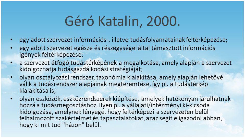 Géró Katalin, 2000. • egy adott szervezet információs-, illetve tudásfolyamatainak feltérképezése; • egy adott szervezet egésze és részegységei által