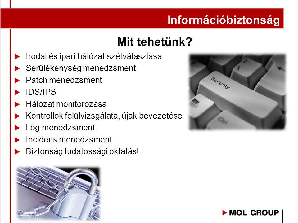 Mit tehetünk? Irodai és ipari hálózat szétválasztása Sérülékenység menedzsment Patch menedzsment IDS/IPS Hálózat monitorozása Kontrollok felülvizsgála