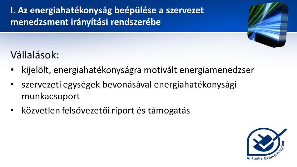 I. Az energiahatékonyság beépülése a szervezet menedzsment irányítási rendszerébe Vállalások: • kijelölt, energiahatékonyságra motivált energiamenedzs
