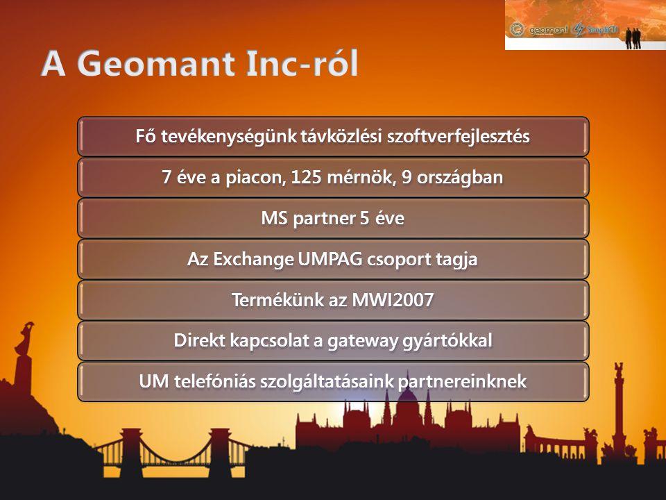 Fő tevékenységünk távközlési szoftverfejlesztés7 éve a piacon, 125 mérnök, 9 országbanMS partner 5 éveAz Exchange UMPAG csoport tagjaTermékünk az MWI2