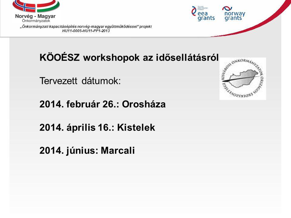 """""""Önkormányzati kapacitásépítés norvég ‐ magyar együttműködéssel"""" projekt HU11-0005-HU11-PP1-2013 KÖOÉSZ workshopok az idősellátásról Tervezett dátumok"""