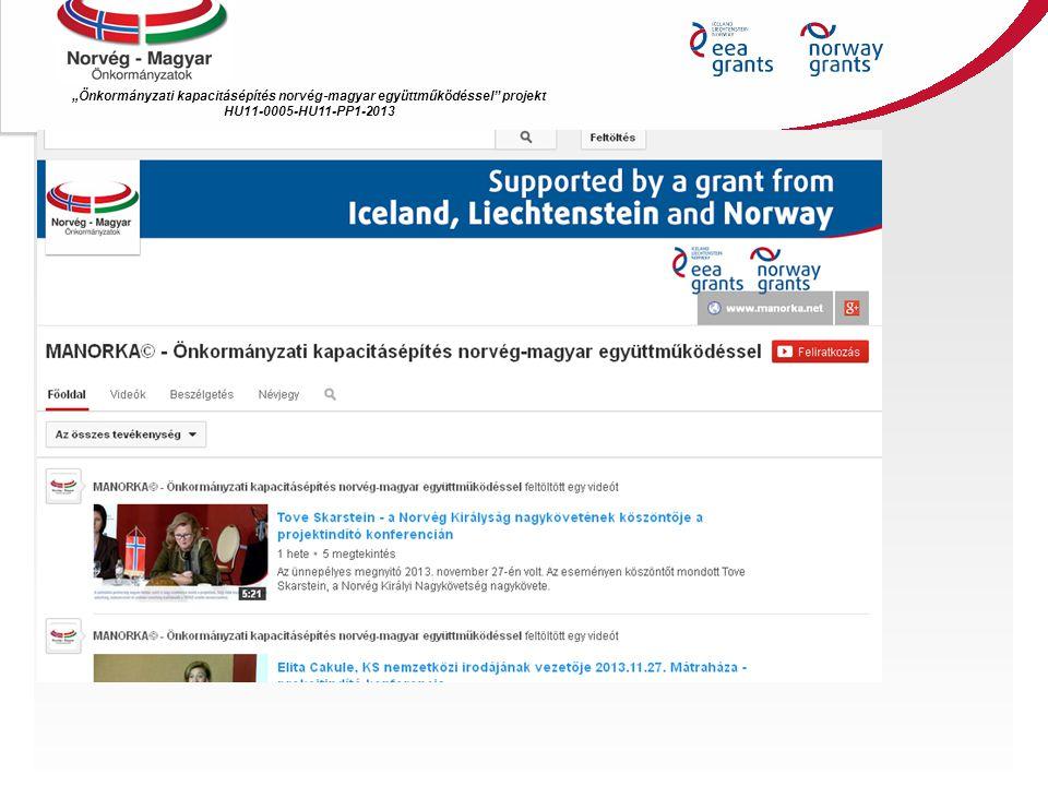 """""""Önkormányzati kapacitásépítés norvég ‐ magyar együttműködéssel"""" projekt HU11-0005-HU11-PP1-2013"""