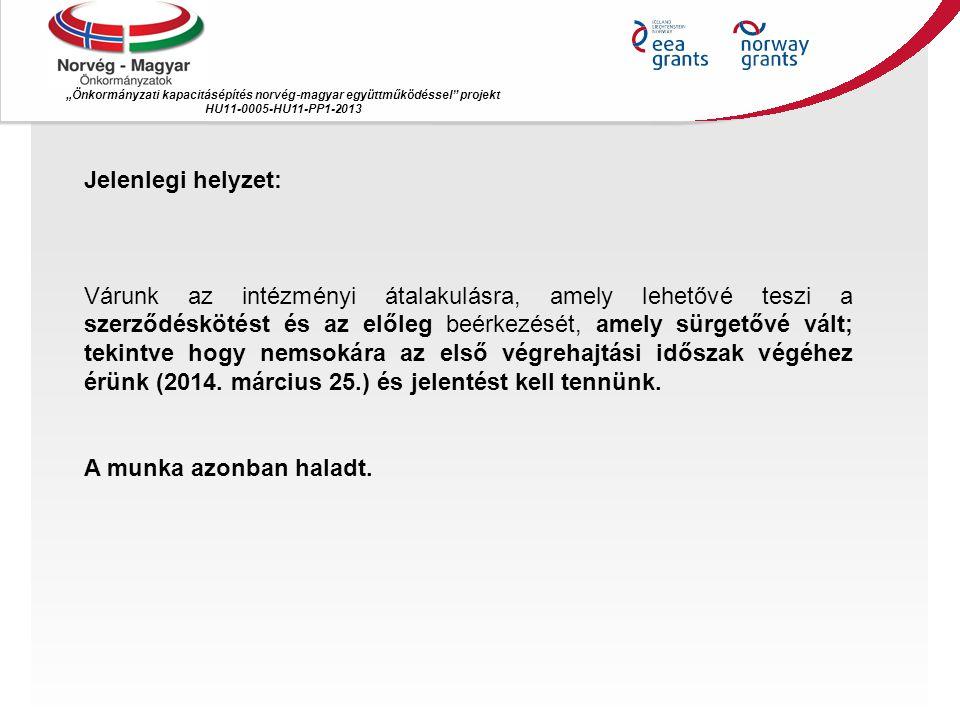 """""""Önkormányzati kapacitásépítés norvég ‐ magyar együttműködéssel projekt HU11-0005-HU11-PP1-2013 Jelenlegi helyzet: Várunk az intézményi átalakulásra, amely lehetővé teszi a szerződéskötést és az előleg beérkezését, amely sürgetővé vált; tekintve hogy nemsokára az első végrehajtási időszak végéhez érünk (2014."""