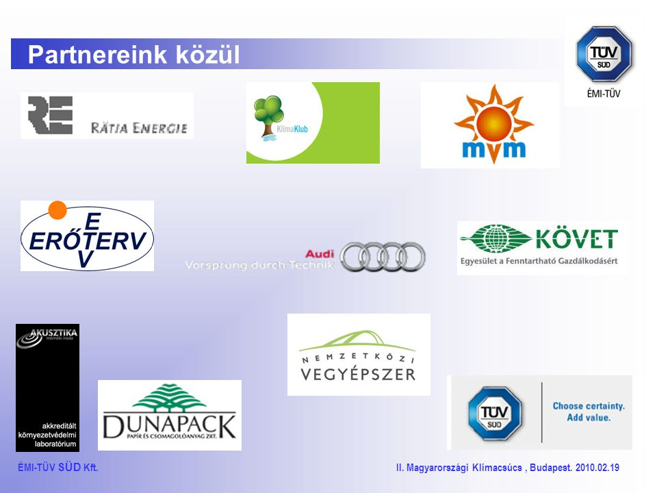 TÜV SÜD Energetikai tanúsítások ÉMI-TÜV SÜD Kft. II.