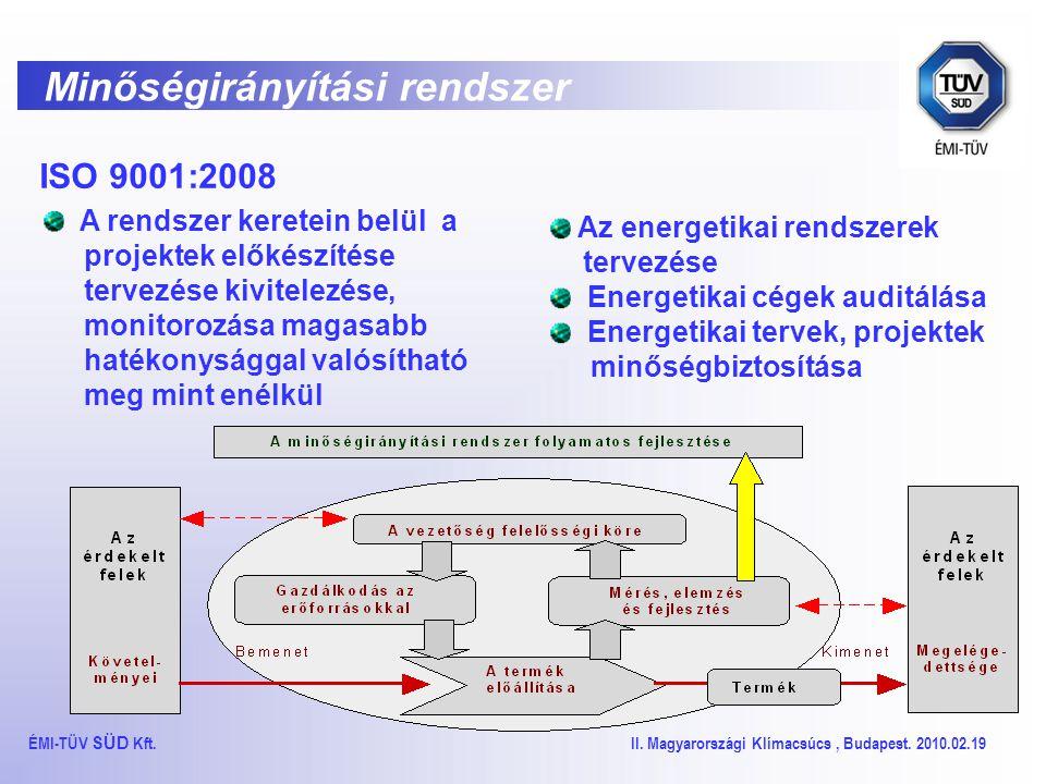Minőségirányítási rendszer ISO 9001:2008 A rendszer keretein belül a projektek előkészítése tervezése kivitelezése, monitorozása magasabb hatékonysággal valósítható meg mint enélkül ÉMI-TÜV SÜD Kft.