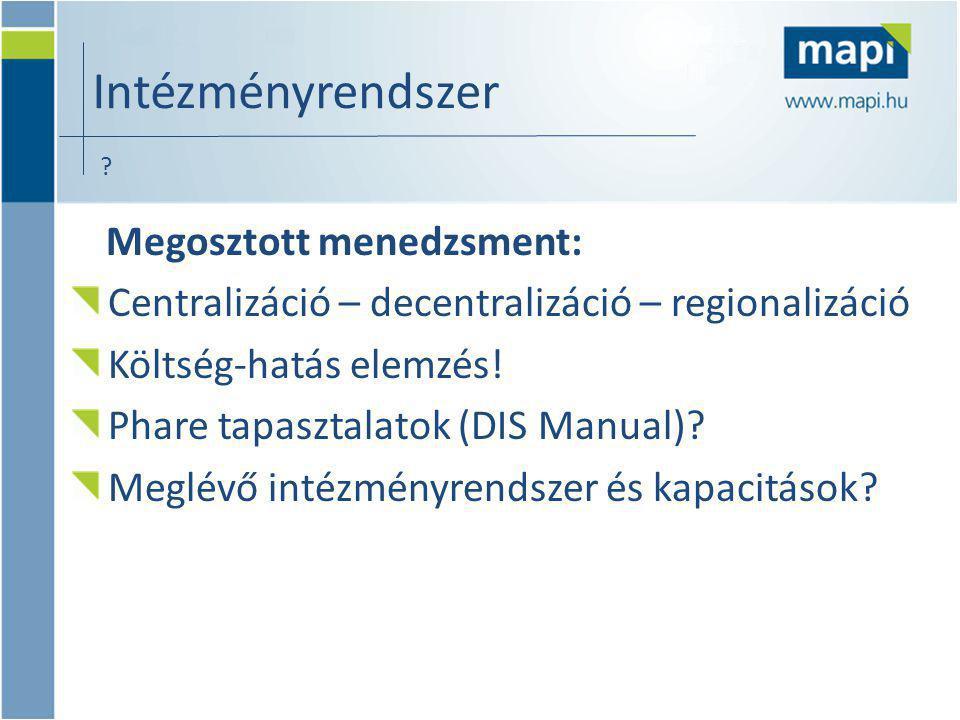 Megosztott menedzsment: Centralizáció – decentralizáció – regionalizáció Költség-hatás elemzés.