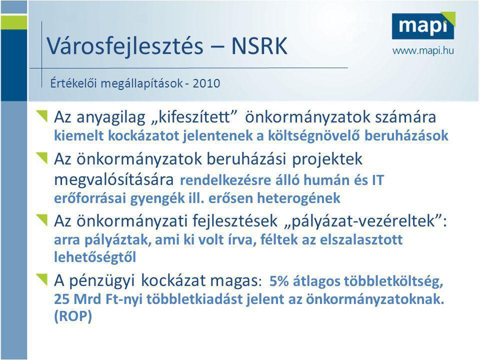 """Városfejlesztés – NSRK Értékelői megállapítások - 2010 Az anyagilag """"kifeszített önkormányzatok számára kiemelt kockázatot jelentenek a költségnövelő beruházások Az önkormányzatok beruházási projektek megvalósítására rendelkezésre álló humán és IT erőforrásai gyengék ill."""