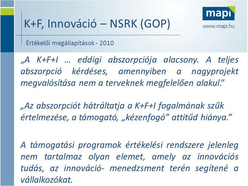 """K+F, Innováció – NSRK (GOP) """"A K+F+I … eddigi abszorpciója alacsony."""