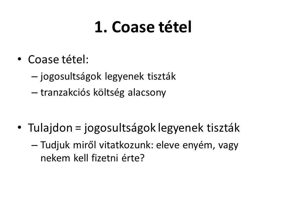 1. Coase tétel • Coase tétel: – jogosultságok legyenek tiszták – tranzakciós költség alacsony • Tulajdon = jogosultságok legyenek tiszták – Tudjuk mir