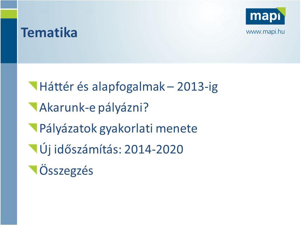 Tematika Háttér és alapfogalmak – 2013-ig Akarunk-e pályázni? Pályázatok gyakorlati menete Új időszámítás: 2014-2020 Összegzés