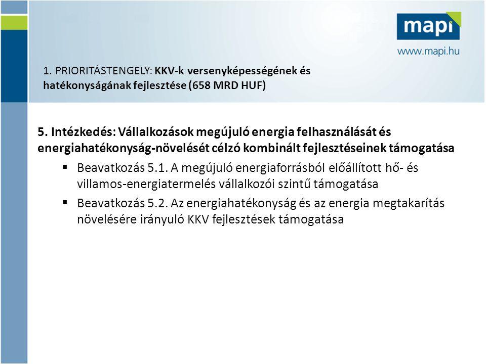 5. Intézkedés: Vállalkozások megújuló energia felhasználását és energiahatékonyság-növelését célzó kombinált fejlesztéseinek támogatása  Beavatkozás