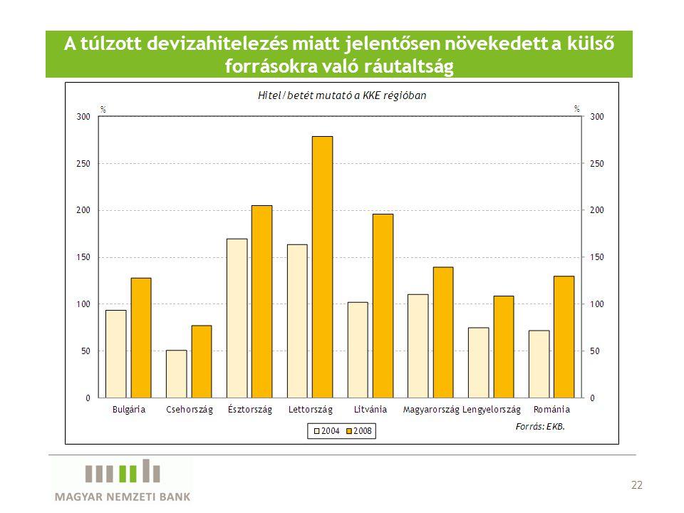 22 A túlzott devizahitelezés miatt jelentősen növekedett a külső forrásokra való ráutaltság