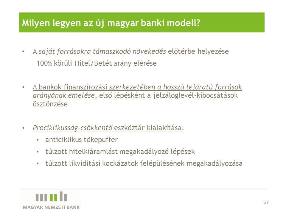 Milyen legyen az új magyar banki modell? • A saját forrásokra támaszkodó növekedés előtérbe helyezése 100% körüli Hitel/Betét arány elérése • A bankok