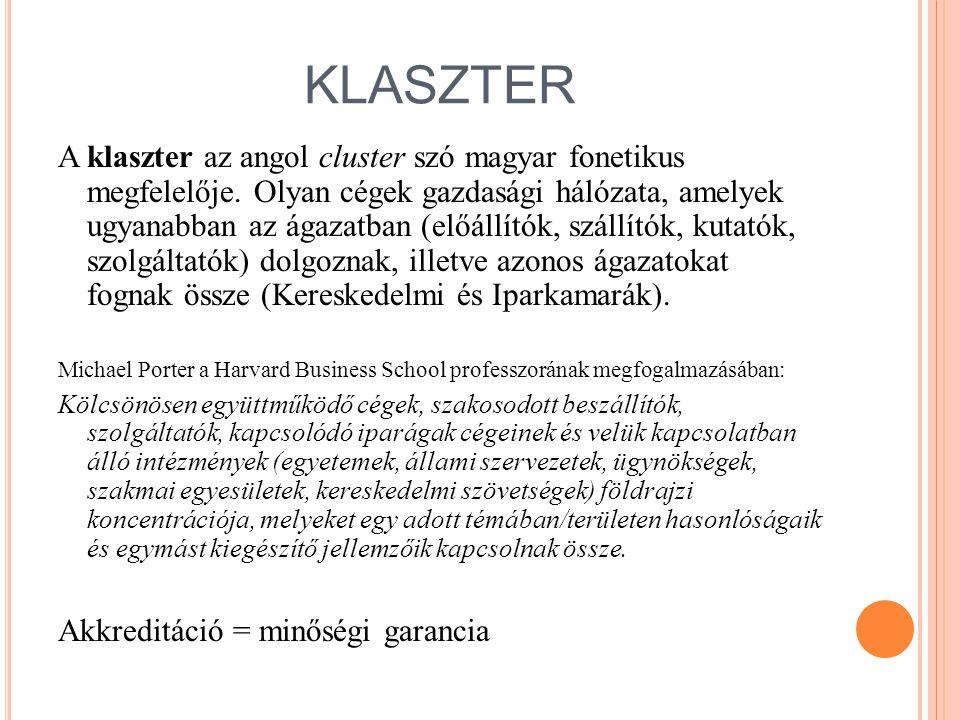 KLASZTER A klaszter az angol cluster szó magyar fonetikus megfelelője. Olyan cégek gazdasági hálózata, amelyek ugyanabban az ágazatban (előállítók, sz