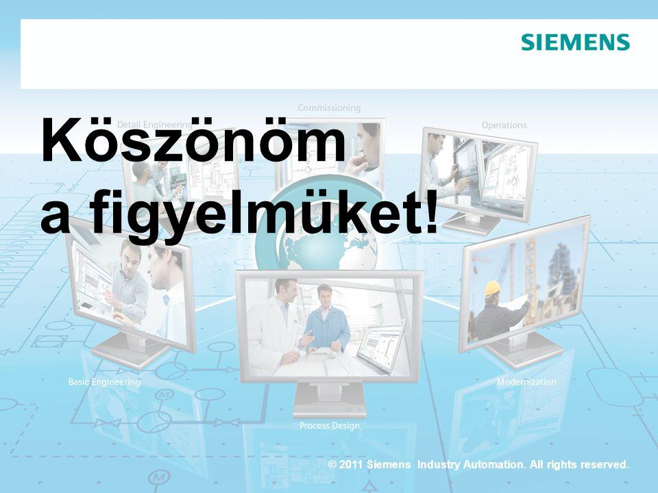 © 2011 Siemens Industry Automation. All rights reserved. Köszönöm a figyelmüket!