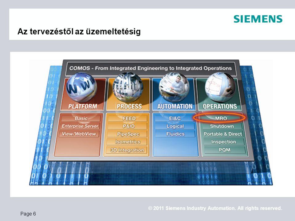 © 2011 Siemens Industry Automation. All rights reserved. Az tervezéstől az üzemeltetésig Page 6