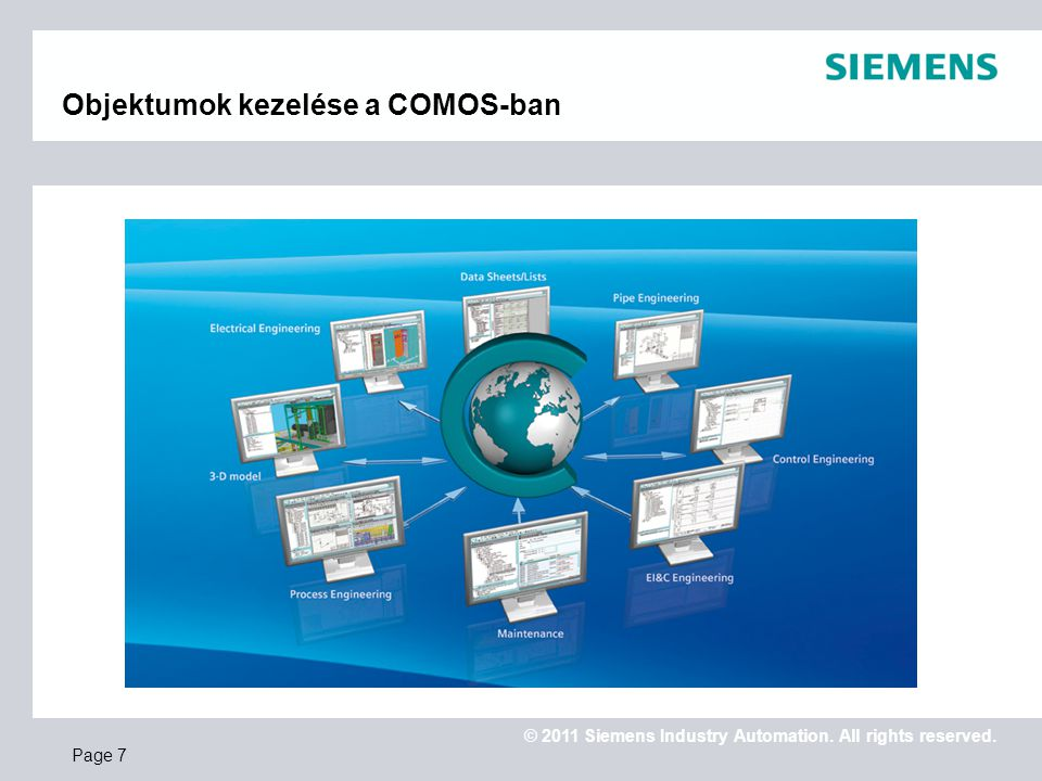 © 2011 Siemens Industry Automation. All rights reserved. Objektumok kezelése a COMOS-ban Page 7
