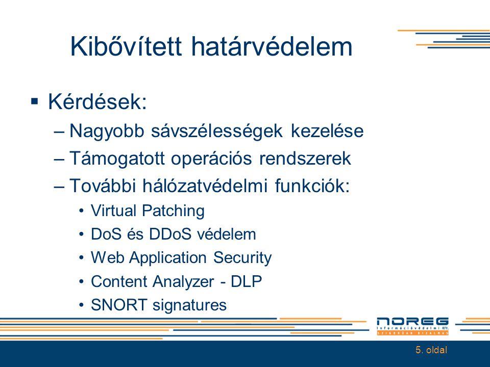 Kibővített határvédelem  Kérdések: –Nagyobb sávszélességek kezelése –Támogatott operációs rendszerek –További hálózatvédelmi funkciók: •Virtual Patch