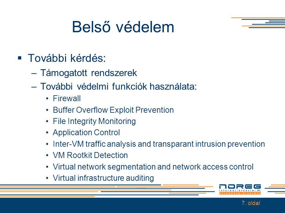 Belső védelem  További kérdés: –Támogatott rendszerek –További védelmi funkciók használata: •Firewall •Buffer Overflow Exploit Prevention •File Integ