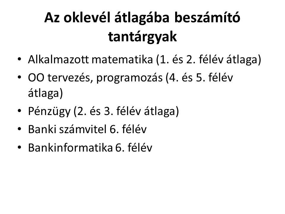 Az oklevél átlagába beszámító tantárgyak • Alkalmazott matematika (1. és 2. félév átlaga) • OO tervezés, programozás (4. és 5. félév átlaga) • Pénzügy