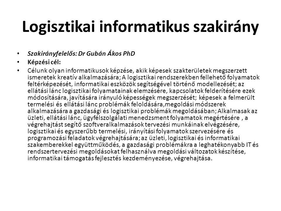 Logisztikai informatikus szakirány • Szakirányfelelős: Dr Gubán Ákos PhD • Képzési cél: • Célunk olyan informatikusok képzése, akik képesek szakterüle