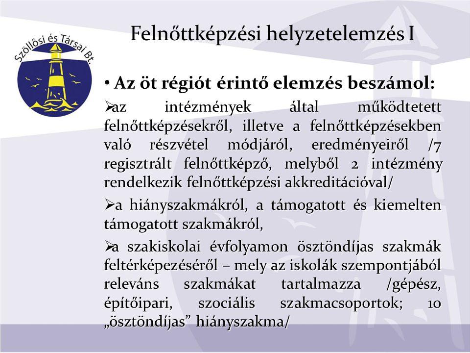 Felnőttképzési helyzetelemzés II  a lehetséges együttműködő partnerekről – NFSZ, Kamarák stb.