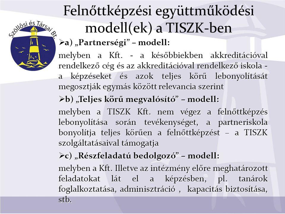"""Felnőttképzési együttműködési modell(ek) a TISZK-ben  a) """"Partnerségi – modell: melyben a Kft."""