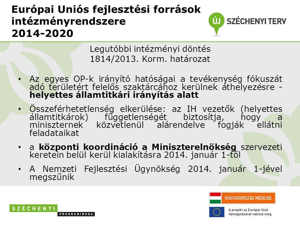 Európai Uniós fejlesztési források intézményrendszere 2014-2020 Legutóbbi intézményi döntés 1814/2013. Korm. határozat • Az egyes OP-k irányító hatósá