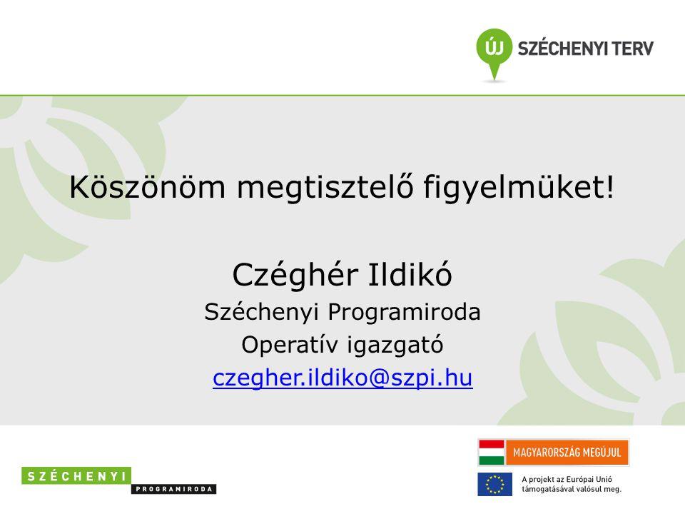 Köszönöm megtisztelő figyelmüket! Czéghér Ildikó Széchenyi Programiroda Operatív igazgató czegher.ildiko@szpi.hu