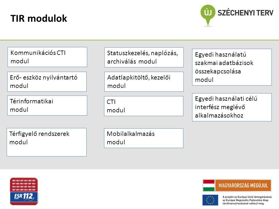 TIR modulok Kommunikációs CTI modul Térinformatikai modul Térfigyelő rendszerek modul Statuszkezelés, naplózás, archiválás modul Adatlapkitöltő, kezel