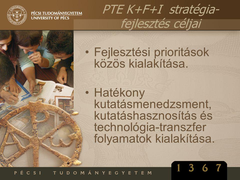 •Fejlesztési prioritások közös kialakítása. •Hatékony kutatásmenedzsment, kutatáshasznosítás és technológia-transzfer folyamatok kialakítása. PTE K+F+