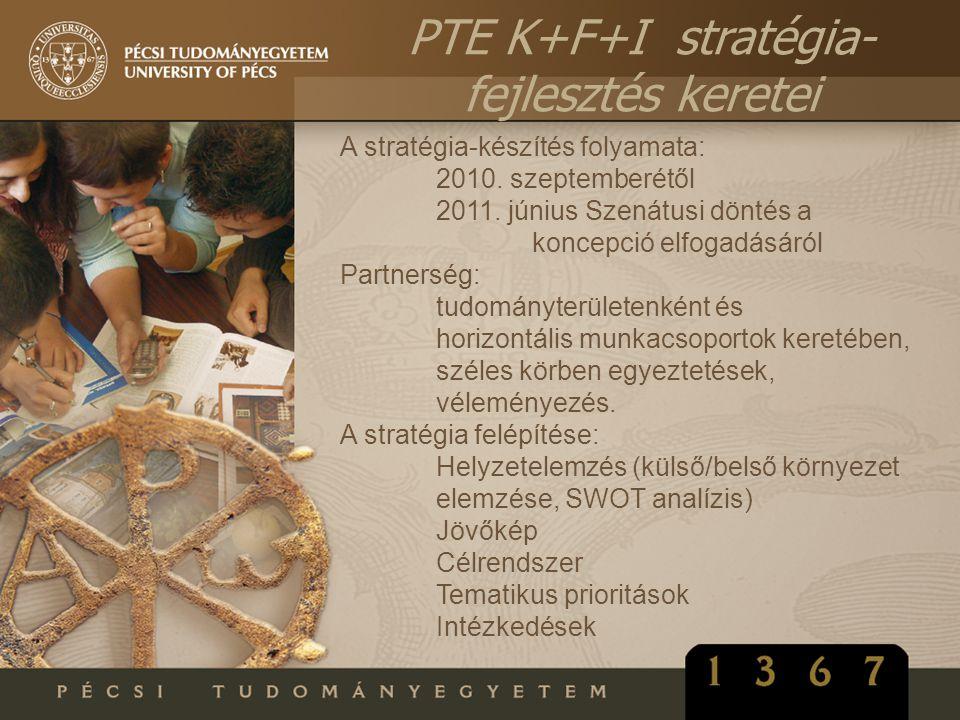 A stratégia-készítés folyamata: 2010. szeptemberétől 2011. június Szenátusi döntés a koncepció elfogadásáról Partnerség: tudományterületenként és hori