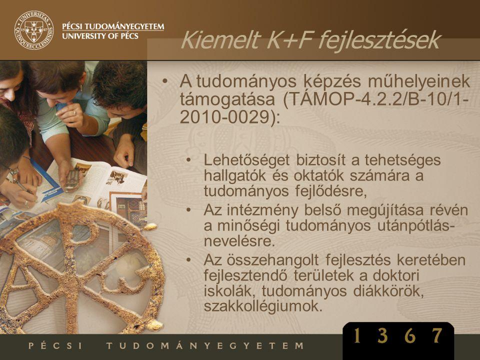 •A tudományos képzés műhelyeinek támogatása (TÁMOP-4.2.2/B-10/1- 2010-0029): •Lehetőséget biztosít a tehetséges hallgatók és oktatók számára a tudomán