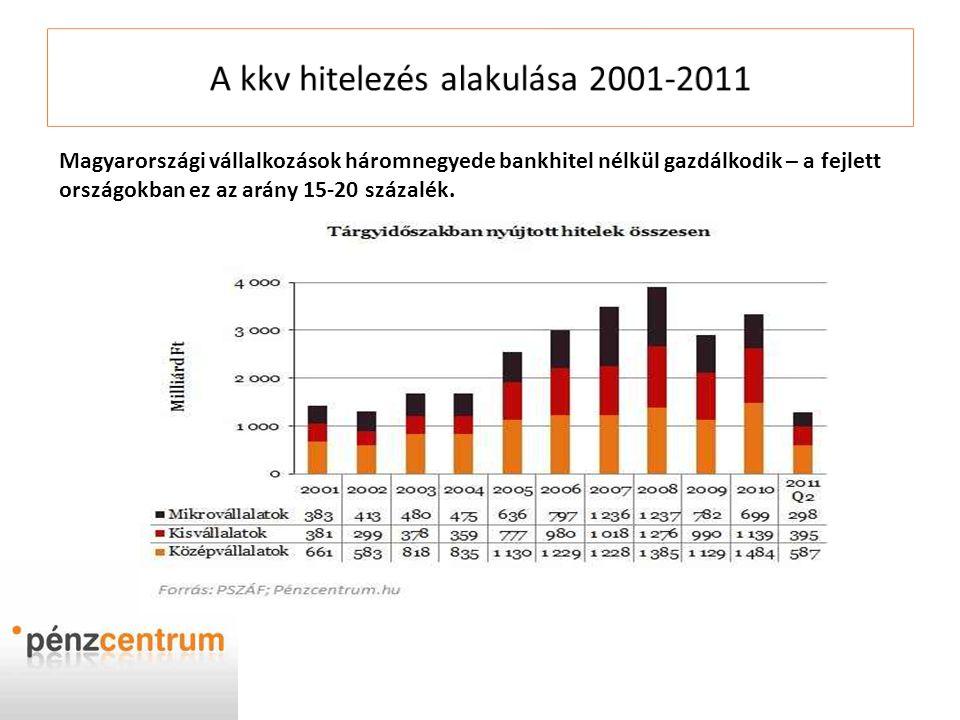 Magyarországi vállalkozások háromnegyede bankhitel nélkül gazdálkodik – a fejlett országokban ez az arány 15-20 százalék.