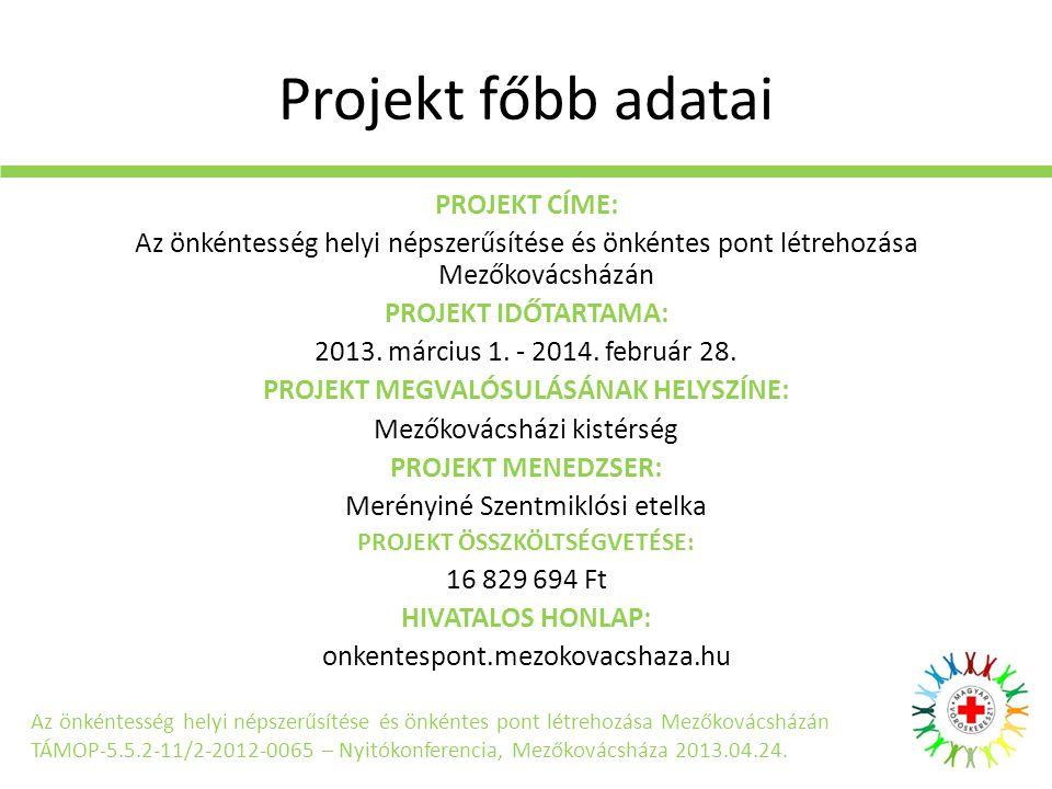 Projekt főbb adatai PROJEKT CÍME: Az önkéntesség helyi népszerűsítése és önkéntes pont létrehozása Mezőkovácsházán PROJEKT IDŐTARTAMA: 2013.