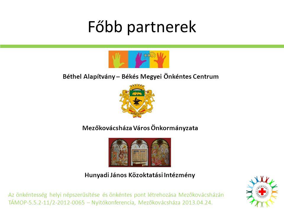 Főbb partnerek Az önkéntesség helyi népszerűsítése és önkéntes pont létrehozása Mezőkovácsházán TÁMOP-5.5.2-11/2-2012-0065 – Nyitókonferencia, Mezőkovácsháza 2013.04.24.