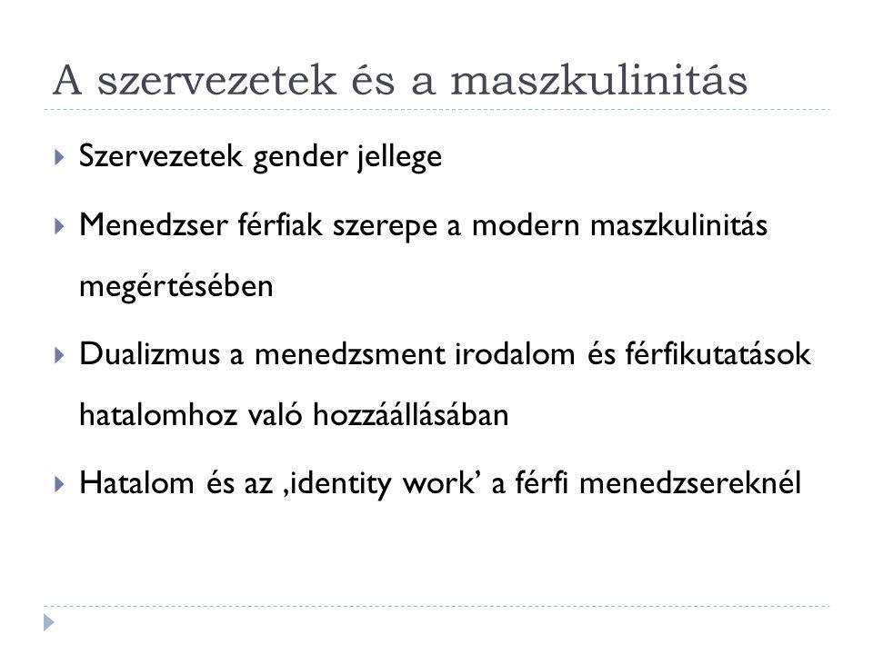 A szervezetek és a maszkulinitás  Szervezetek gender jellege  Menedzser férfiak szerepe a modern maszkulinitás megértésében  Dualizmus a menedzsmen