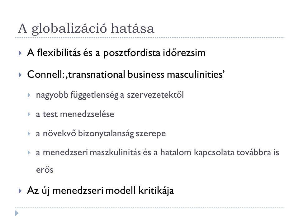A globalizáció hatása  A flexibilitás és a posztfordista időrezsim  Connell: 'transnational business masculinities'  nagyobb függetlenség a szervez