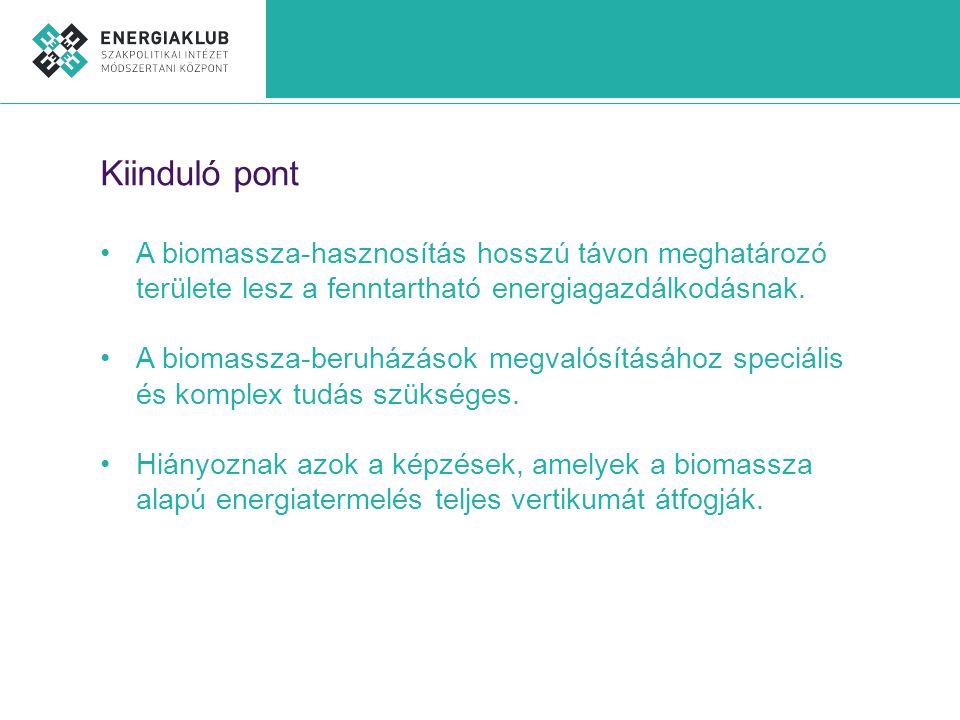 Kiinduló pont •A biomassza-hasznosítás hosszú távon meghatározó területe lesz a fenntartható energiagazdálkodásnak.