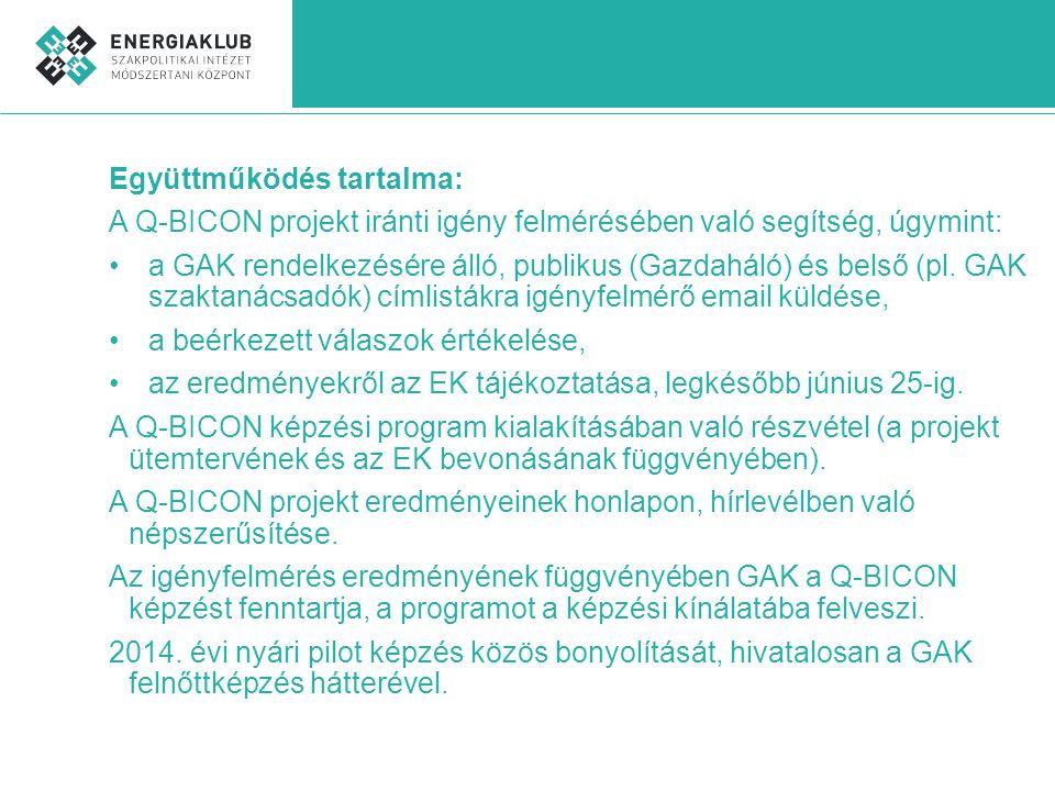 Együttműködés tartalma: A Q-BICON projekt iránti igény felmérésében való segítség, úgymint: •a GAK rendelkezésére álló, publikus (Gazdaháló) és belső (pl.