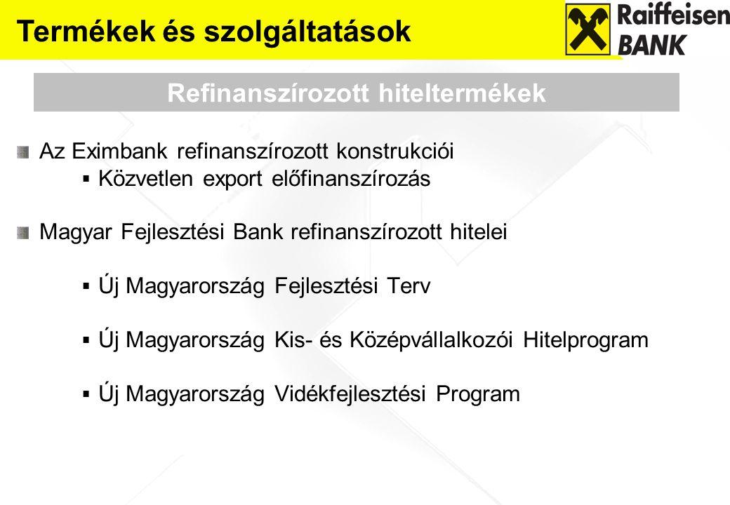Az Eximbank refinanszírozott konstrukciói  Közvetlen export előfinanszírozás Magyar Fejlesztési Bank refinanszírozott hitelei  Új Magyarország Fejle