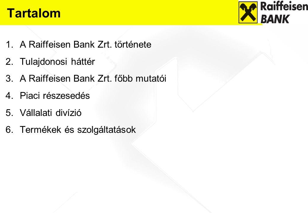 Tartalom 1.A Raiffeisen Bank Zrt. története 2.Tulajdonosi háttér 3.A Raiffeisen Bank Zrt. főbb mutatói 4.Piaci részesedés 5.Vállalati divízió 6.Termék