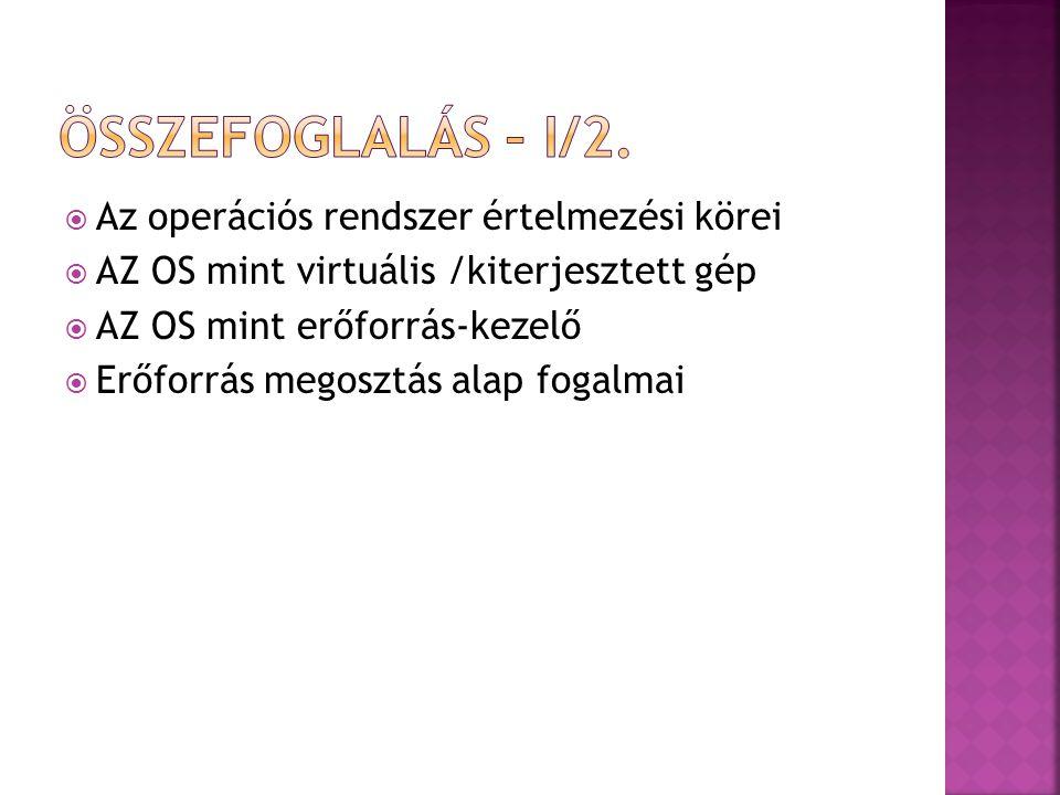  Az operációs rendszer értelmezési körei  AZ OS mint virtuális /kiterjesztett gép  AZ OS mint erőforrás-kezelő  Erőforrás megosztás alap fogalmai