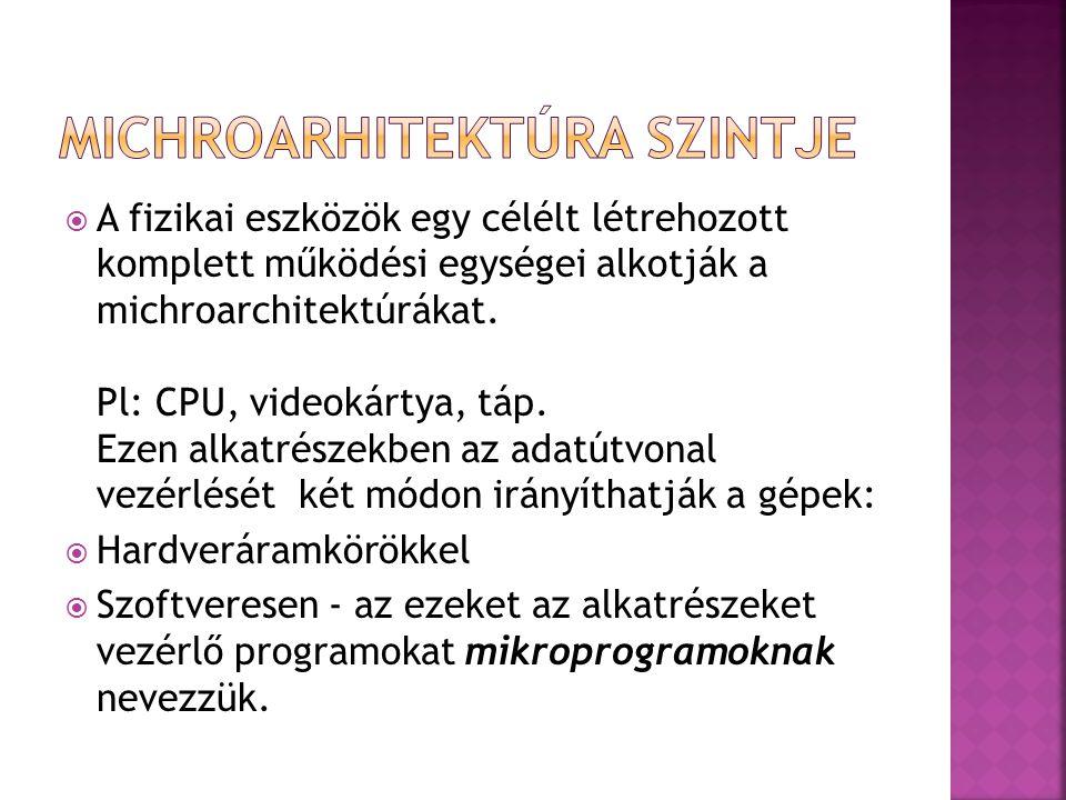  MIKROPROGRAM: A Digitális számítógépek gépi utasításainak (pl.