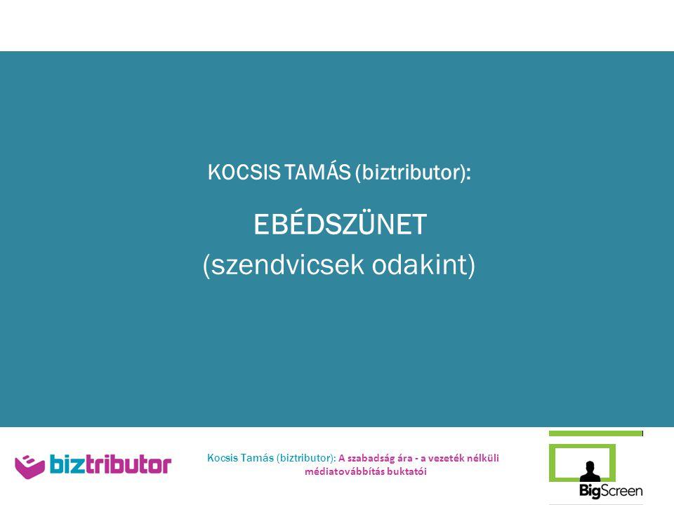 Kocsis Tamás (biztributor): A szabadság ára - a vezeték nélküli médiatovábbítás buktatói KOCSIS TAMÁS (biztributor): EBÉDSZÜNET (szendvicsek odakint)