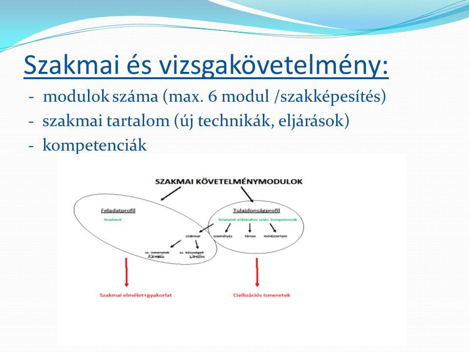 Szakmai és vizsgakövetelmény: - modulok száma (max. 6 modul /szakképesítés) - szakmai tartalom (új technikák, eljárások) - kompetenciák