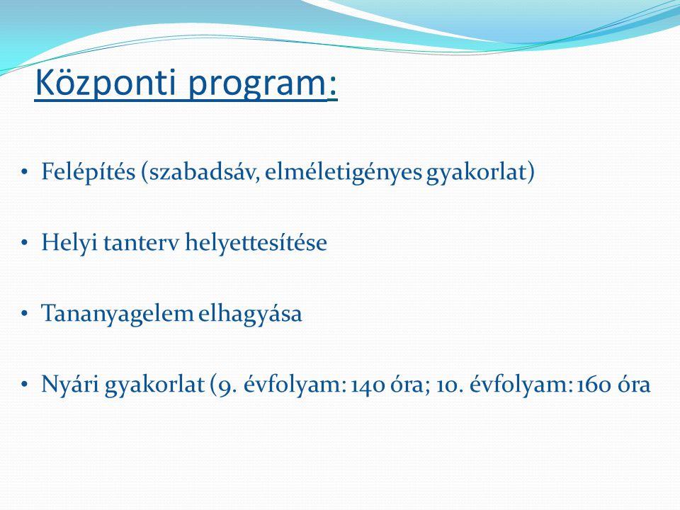 Központi program: • Felépítés (szabadsáv, elméletigényes gyakorlat) • Helyi tanterv helyettesítése • Tananyagelem elhagyása • Nyári gyakorlat (9. évfo