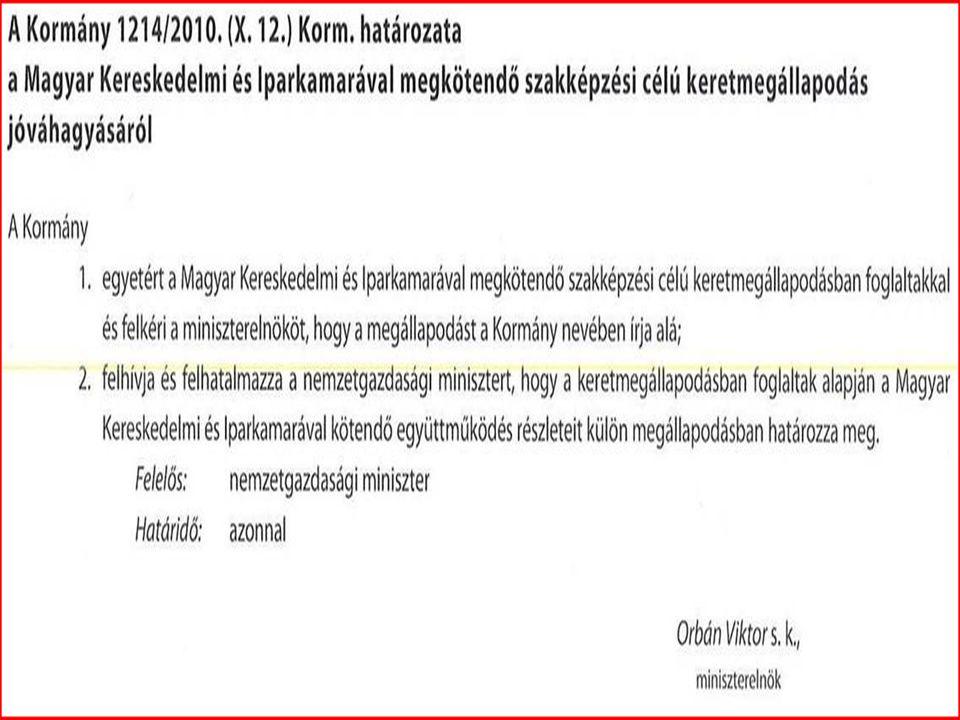 1214/2010. (X.12.) kormányhatározat alapján a Magyar Kereskedelmi és Iparkamara a jelenleg 26 szakképesítés mellé további 99 szakképesítés tartalomsza